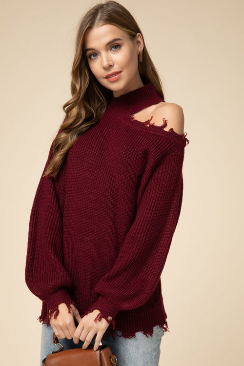 Cozy Burgundy Off Shoulder Distressed Sweater