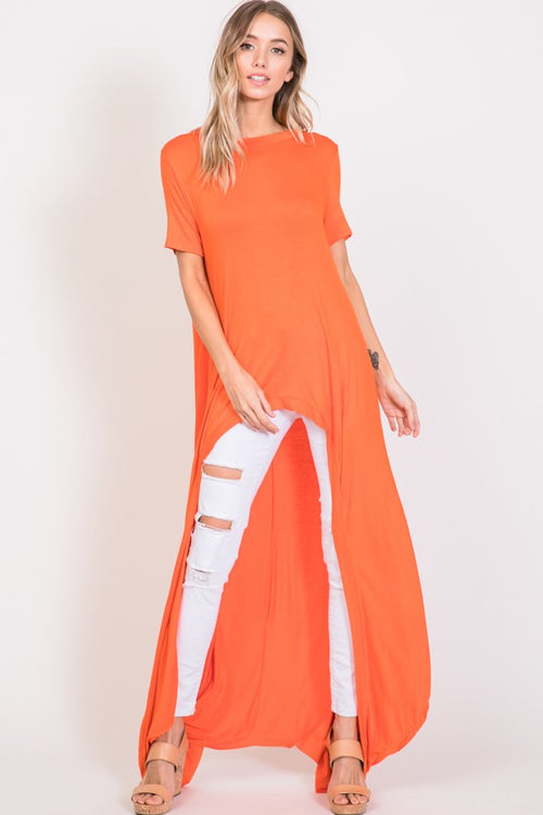 Analise Orange Hi-Lo Short Sleeve Top