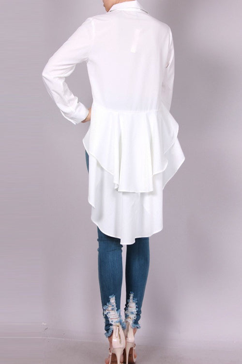 Cierra Ivory White Button Down Peplum Blouse Top