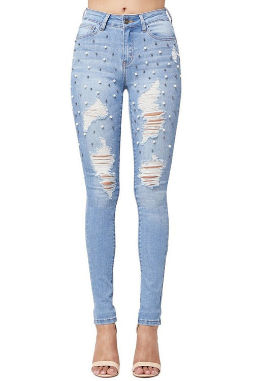 Daphne Distressed Pearls Medium Light Blue Mid Rise Skinny Jeans
