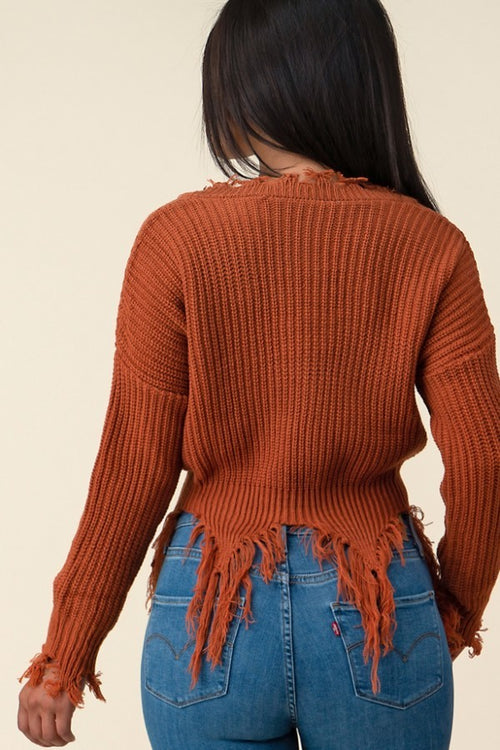 Rust Distressed Crop Sweater - SWEATER