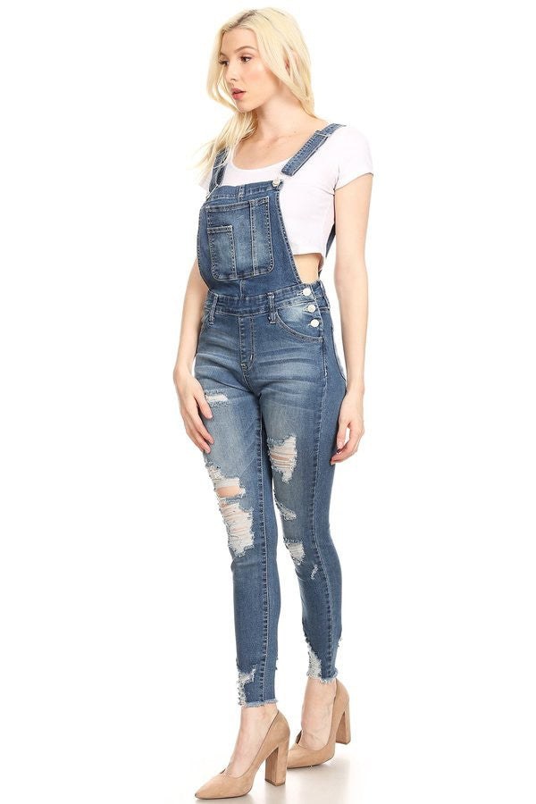 Medium Dark Distressed Stone Washed Denim Overalls - JEAN