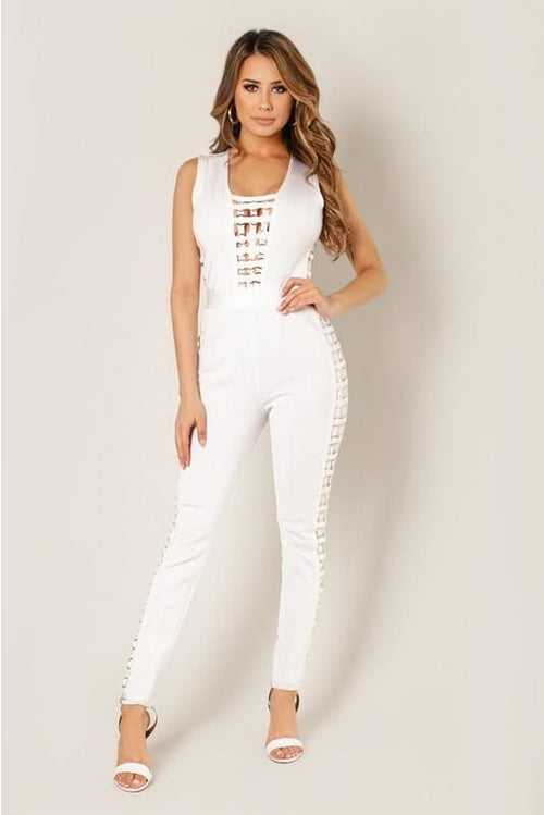 Alexia White Metal Ring Trim Detailed Bandage Jumpsuit S(2-4) Jumpsuit