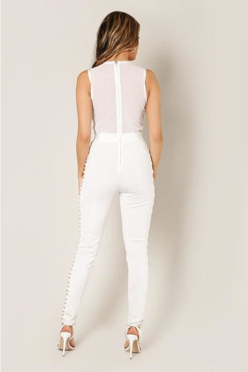 Alexia White Metal Ring Trim Detailed Bandage Jumpsuit Jumpsuit