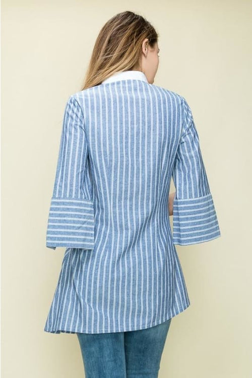 Alyssa Asymmetrical Striped Button Down Blouse Top