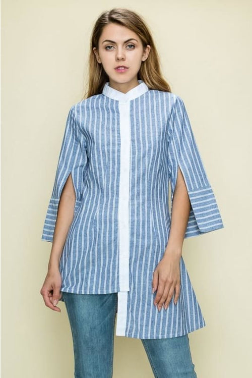 Alyssa Asymmetrical Striped Button Down Blouse S(2-4) Top