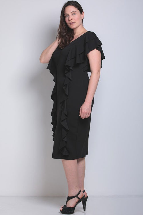 Dahlia Low V Black Vertical Ruffle Sleeve Dress - PLUS/CURVY