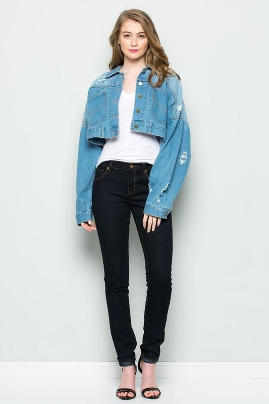 Backbuttontwo-Toned Cropped Denim Jacket Jacket