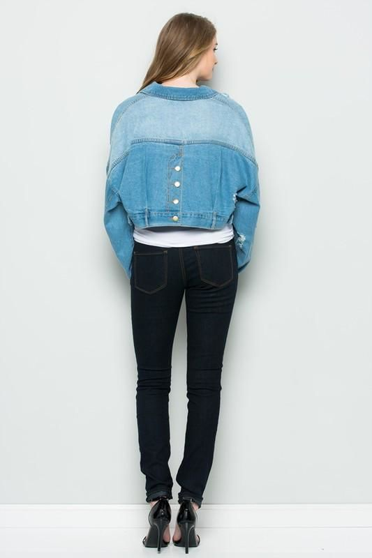Backbuttontwo-Toned Cropped Denim Jacket S Jacket