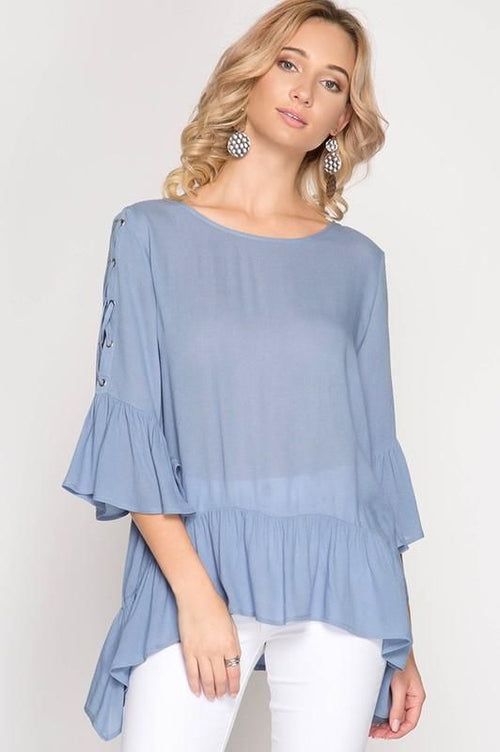 Bella Misty Blue 3/4 Length Lace Up Bell Sleeve Top S(4/6) Top