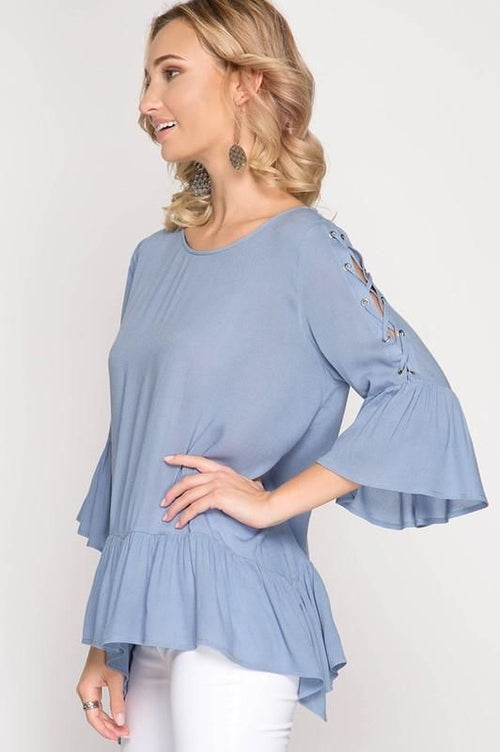 Bella Misty Blue 3/4 Length Lace Up Bell Sleeve Top Top