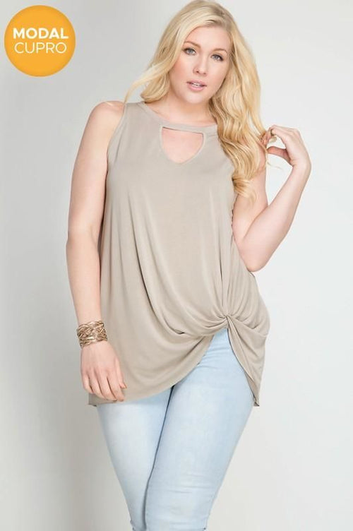 Bella Sleeveles Modal Cupro Top With Neck Keyhole And Side Twist Plus/curvy Xl(12/14) Top