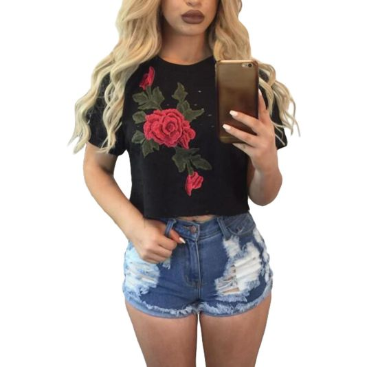 Black 3D Rose Embroidered Ripped Crop Top T-Shirt S Top
