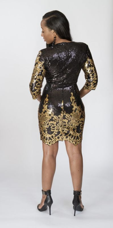 Black And Gold Sequin Victorian Dress Dress