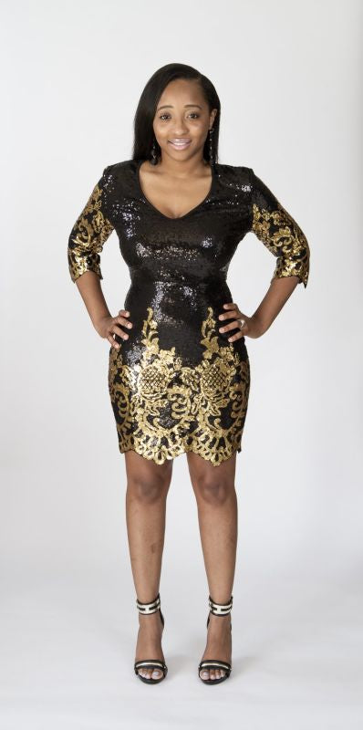 Black And Gold Sequin Victorian Dress S(2-4) Dress