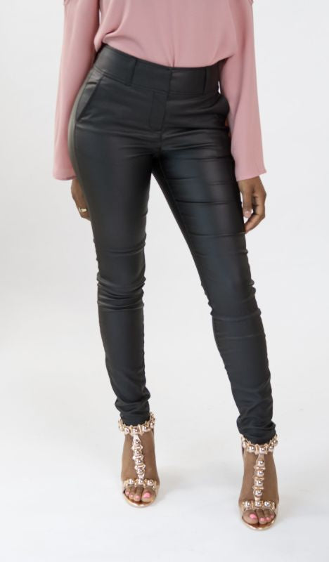 Black Body Hugging Faux Leather Pants Pant