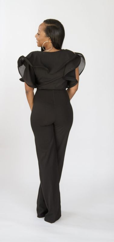Black Fitted Wide Leg Pant Pant