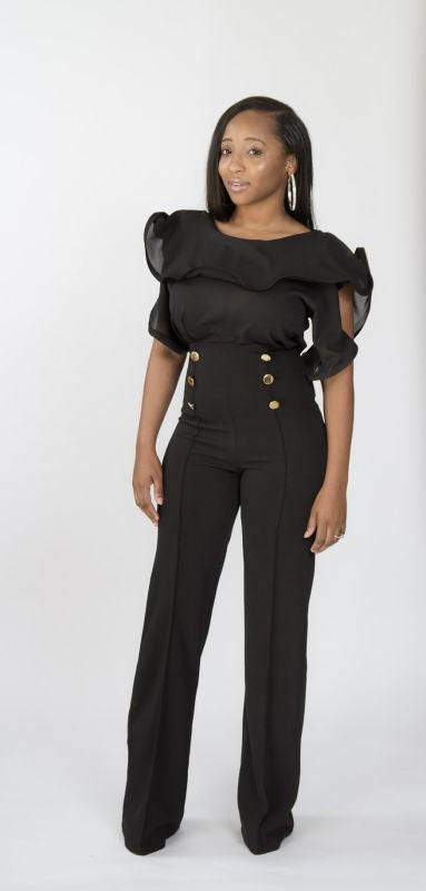 Black Fitted Wide Leg Pant S(2-4) Pant