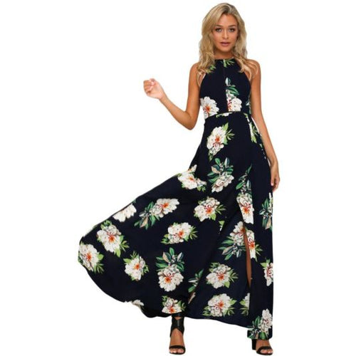 Black Floral Cutout Back Halter Split Maxi Sundress L Dress