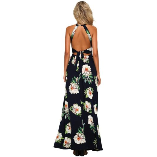 Black Floral Cutout Back Halter Split Maxi Sundress Dress