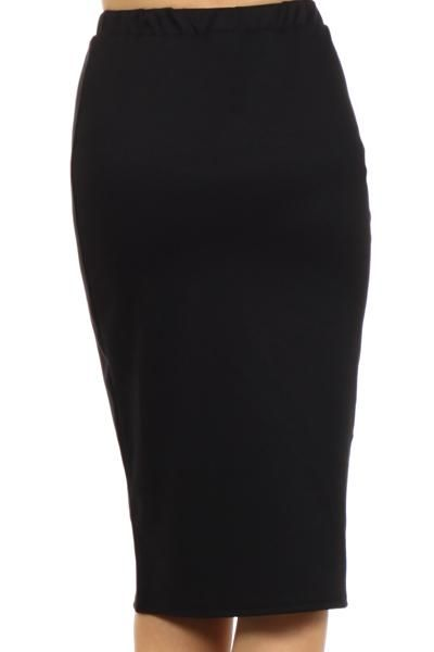 Black Jersey Knit Pencil Skirt Skirt