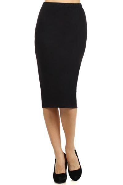 Black Jersey Knit Pencil Skirt S Skirt