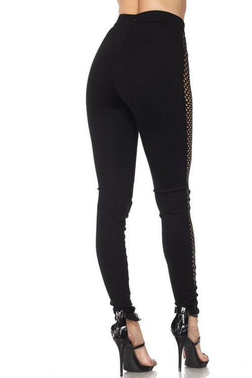 Black Lattice Lace Up Fishnet Leggings Pant