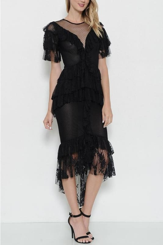 Black Layered Lace Dress - DRESS