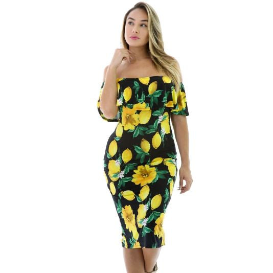 Black Lemon Drop Ruffle Off Shoulder Dress S(4-6)