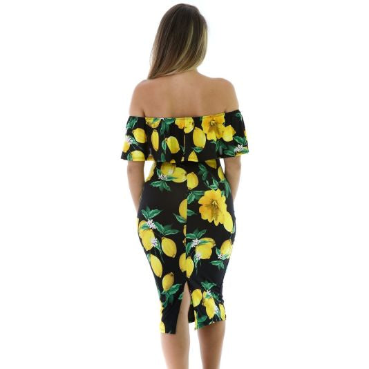 Black Lemon Drop Ruffle Off Shoulder Dress