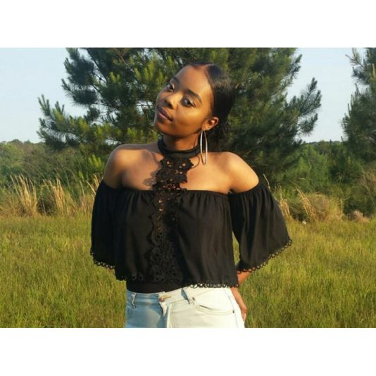 Black Off Shoulder Crop Top With Lace Choker Collar Black / M Top