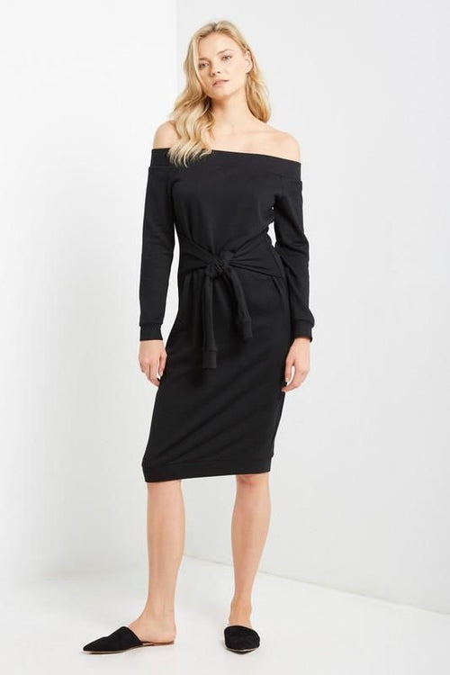 Black Off Shoulder Tie Waist Sweatshirt Dress Dress