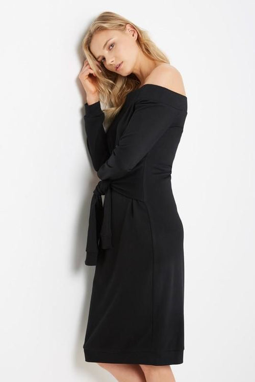 Black Off Shoulder Tie Waist Sweatshirt Dress Sizes: S(4-6) Dress