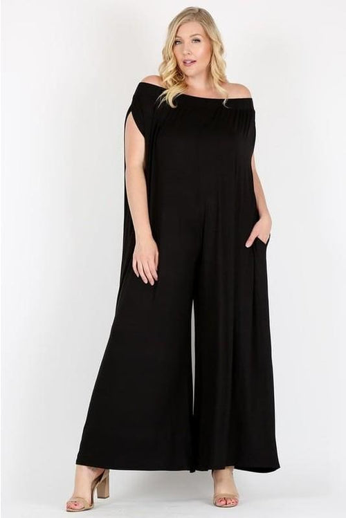 Black Off Shoulder Wide Leg Jumpsuit S(4-6) Jumpsuit