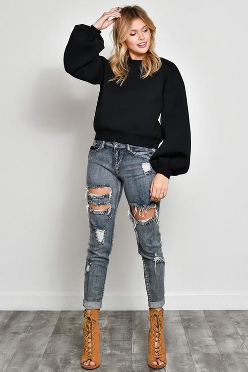 Black Open Back Bubble Sleeve Sweatshirt S(2-4) Top