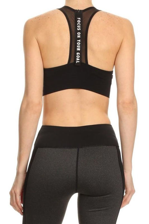 Black Racerback Focus On Your Goals Sports Bra Activewear Top