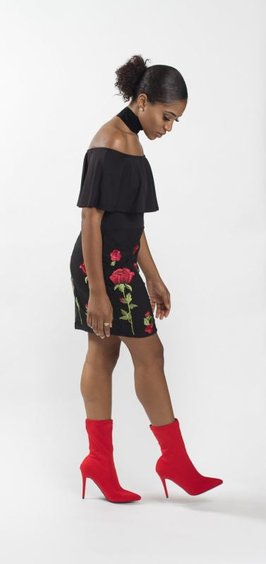 Black Ruffle Off Shoulder Embroidery Dress - Dress