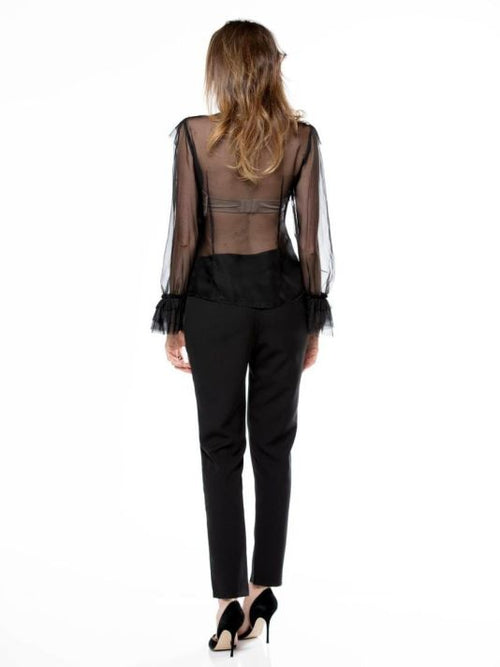 Black Ruffle Tie Neck Sheer Chiffon Blouse Top
