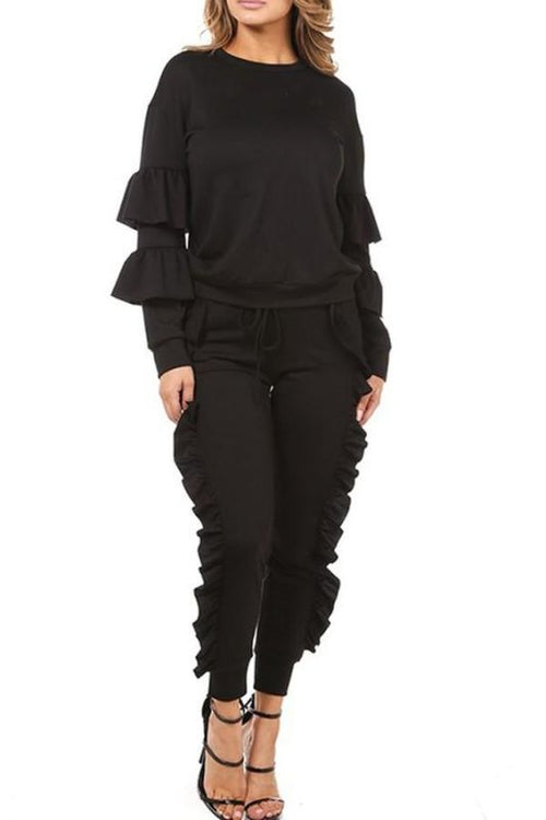 Black Ruffled Jogger Set Sizes: S(2-4) Set
