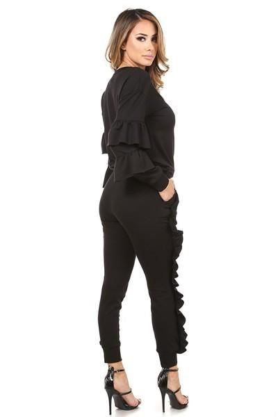 Black Ruffled Jogger Set Set