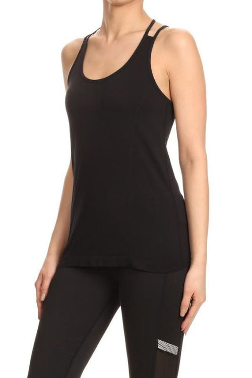 Black Scoop Neck Activewear Tank S Activewear Top