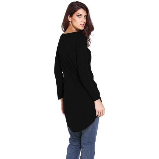 Black Tie Front Long Sleeve Top Shopslayplay