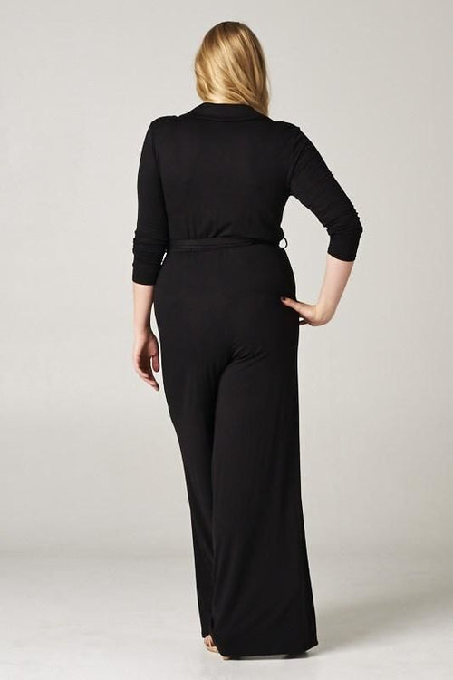 Black Tie Waist Jumpsuit - Plus Jumpsuit