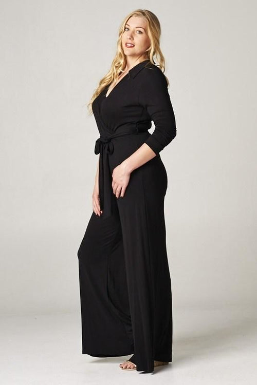 Black Tie Waist Jumpsuit - Plus 1Xl Jumpsuit
