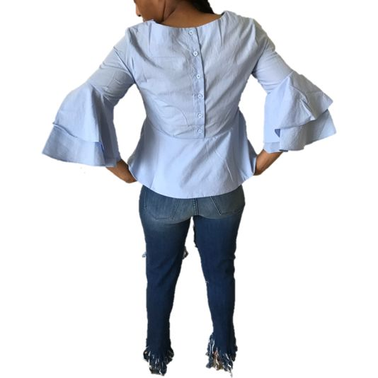 Blue Ruffle Flared Sleeve Top