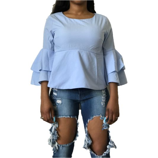 Blue Ruffle Flared Sleeve Top S