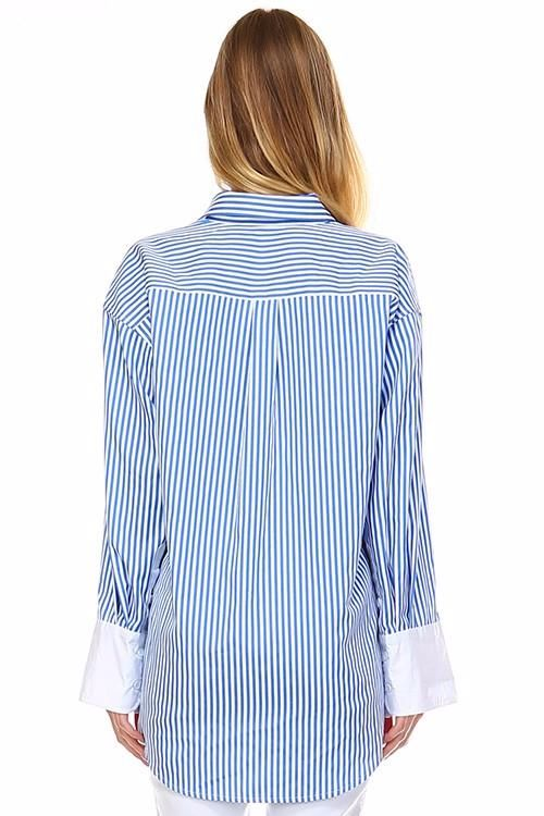 Blue Striped Blouse City Shirt Top Top