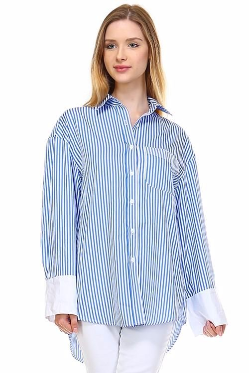 Blue Striped Blouse City Shirt Top S Top
