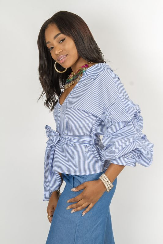 Blue Striped One Shoulder Bubble Sleeve Button Down Wrap Shirt Top