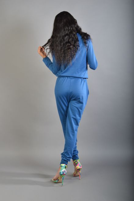 Blue/green Tie Front Drawstring Jumpsuit Jumpsuit